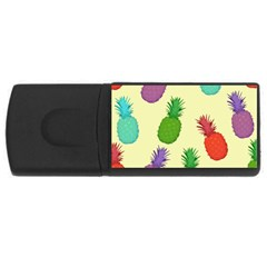Colorful Pineapples Wallpaper Background Usb Flash Drive Rectangular (4 Gb) by Simbadda