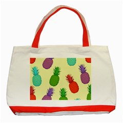 Colorful Pineapples Wallpaper Background Classic Tote Bag (red) by Simbadda