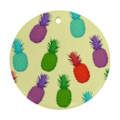Colorful Pineapples Wallpaper Background Round Ornament (two Sides) by Simbadda
