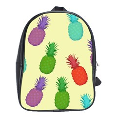 Colorful Pineapples Wallpaper Background School Bags(large)  by Simbadda