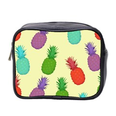 Colorful Pineapples Wallpaper Background Mini Toiletries Bag 2 Side by Simbadda