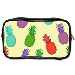 Colorful Pineapples Wallpaper Background Toiletries Bags by Simbadda