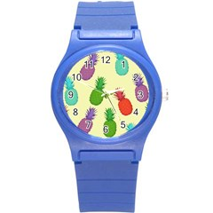 Colorful Pineapples Wallpaper Background Round Plastic Sport Watch (s) by Simbadda
