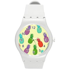 Colorful Pineapples Wallpaper Background Round Plastic Sport Watch (m) by Simbadda