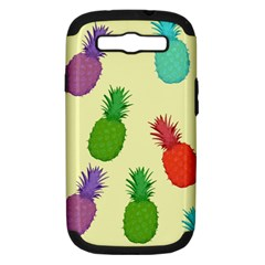 Colorful Pineapples Wallpaper Background Samsung Galaxy S Iii Hardshell Case (pc+silicone) by Simbadda