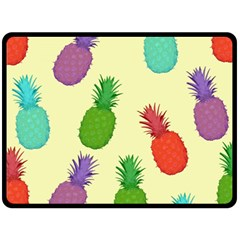 Colorful Pineapples Wallpaper Background Double Sided Fleece Blanket (large)  by Simbadda