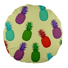 Colorful Pineapples Wallpaper Background Large 18  Premium Flano Round Cushions by Simbadda