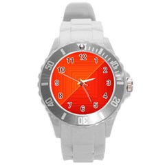 Abstract Clutter Baffled Field Round Plastic Sport Watch (l) by Simbadda