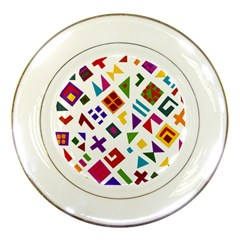 A Colorful Modern Illustration For Lovers Porcelain Plates by Simbadda