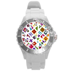 A Colorful Modern Illustration For Lovers Round Plastic Sport Watch (l)