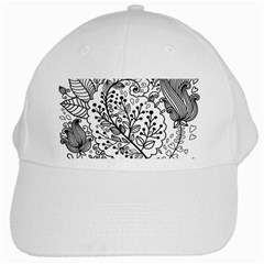 Black Abstract Floral Background White Cap by Simbadda