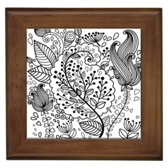 Black Abstract Floral Background Framed Tiles by Simbadda