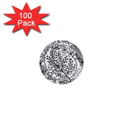 Black Abstract Floral Background 1  Mini Buttons (100 Pack)
