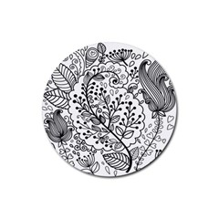 Black Abstract Floral Background Rubber Round Coaster (4 Pack)  by Simbadda