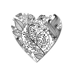 Black Abstract Floral Background Heart Magnet