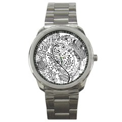 Black Abstract Floral Background Sport Metal Watch by Simbadda
