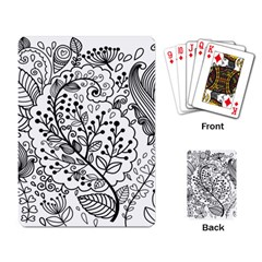 Black Abstract Floral Background Playing Card by Simbadda