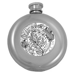 Black Abstract Floral Background Round Hip Flask (5 Oz) by Simbadda