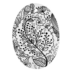 Black Abstract Floral Background Oval Ornament (two Sides) by Simbadda