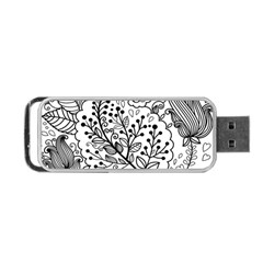 Black Abstract Floral Background Portable Usb Flash (one Side) by Simbadda