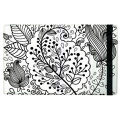Black Abstract Floral Background Apple Ipad 3/4 Flip Case by Simbadda