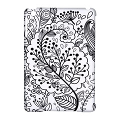 Black Abstract Floral Background Apple Ipad Mini Hardshell Case (compatible With Smart Cover) by Simbadda