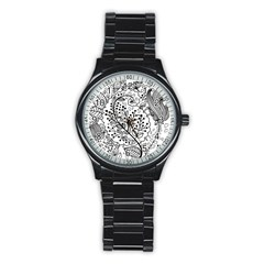 Black Abstract Floral Background Stainless Steel Round Watch by Simbadda