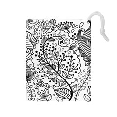 Black Abstract Floral Background Drawstring Pouches (large)  by Simbadda
