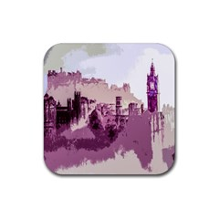 Abstract Painting Edinburgh Capital Of Scotland Rubber Square Coaster (4 Pack)  by Simbadda