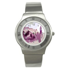 Abstract Painting Edinburgh Capital Of Scotland Stainless Steel Watch by Simbadda