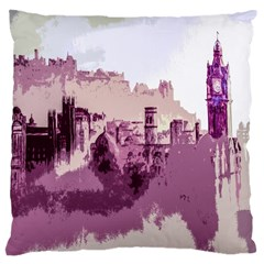Abstract Painting Edinburgh Capital Of Scotland Large Cushion Case (one Side) by Simbadda