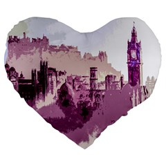 Abstract Painting Edinburgh Capital Of Scotland Large 19  Premium Heart Shape Cushions by Simbadda