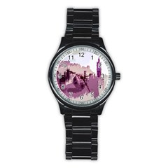 Abstract Painting Edinburgh Capital Of Scotland Stainless Steel Round Watch by Simbadda