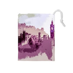 Abstract Painting Edinburgh Capital Of Scotland Drawstring Pouches (medium)  by Simbadda