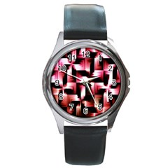 Red And Pink Abstract Background Round Metal Watch by Simbadda
