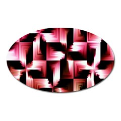 Red And Pink Abstract Background Oval Magnet by Simbadda