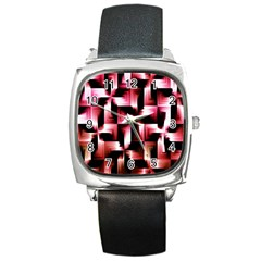 Red And Pink Abstract Background Square Metal Watch by Simbadda