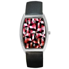 Red And Pink Abstract Background Barrel Style Metal Watch by Simbadda