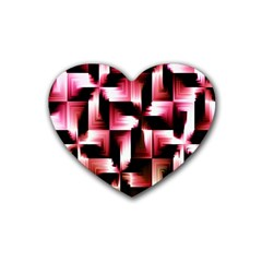 Red And Pink Abstract Background Rubber Coaster (heart)  by Simbadda