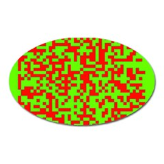 Colorful Qr Code Digital Computer Graphic Oval Magnet by Simbadda