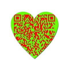 Colorful Qr Code Digital Computer Graphic Heart Magnet by Simbadda
