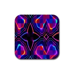 Rainbow Abstract Background Pattern Rubber Square Coaster (4 Pack)  by Simbadda