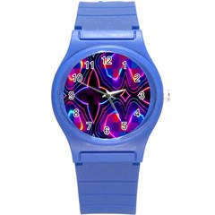 Rainbow Abstract Background Pattern Round Plastic Sport Watch (s) by Simbadda