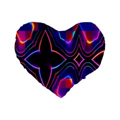 Rainbow Abstract Background Pattern Standard 16  Premium Heart Shape Cushions by Simbadda
