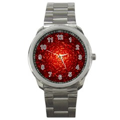Abstract Red Lava Effect Sport Metal Watch by Simbadda
