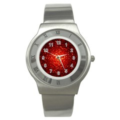 Abstract Red Lava Effect Stainless Steel Watch by Simbadda