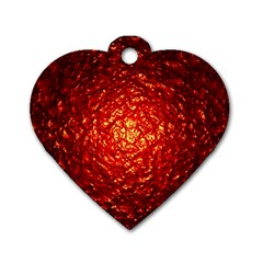 Abstract Red Lava Effect Dog Tag Heart (one Side) by Simbadda