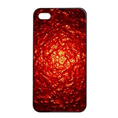 Abstract Red Lava Effect Apple Iphone 4/4s Seamless Case (black) by Simbadda