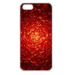 Abstract Red Lava Effect Apple Iphone 5 Seamless Case (white) by Simbadda