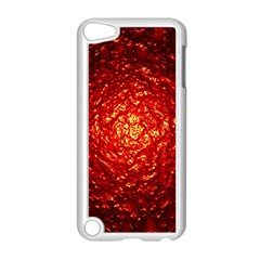 Abstract Red Lava Effect Apple Ipod Touch 5 Case (white) by Simbadda